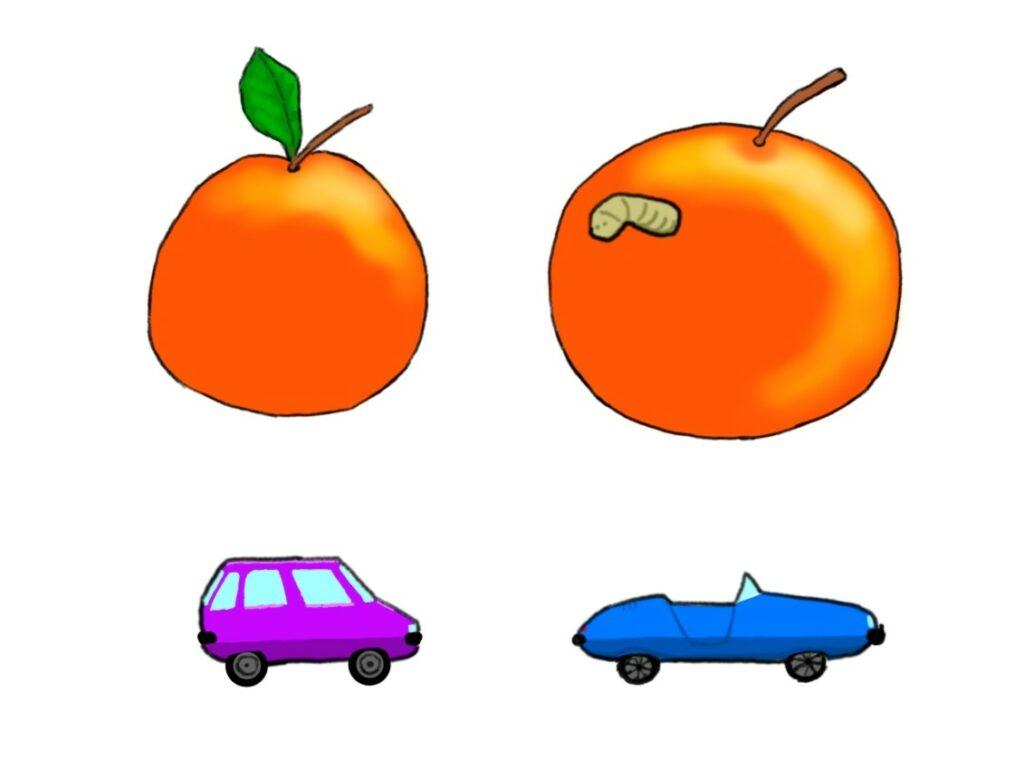 image présentant une pomme plus grande qu'une autre pomme, mais véreuse. Et deux voiture de standing différents